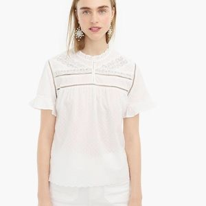 J.CREW POINT SUR Embroidered top XS a white